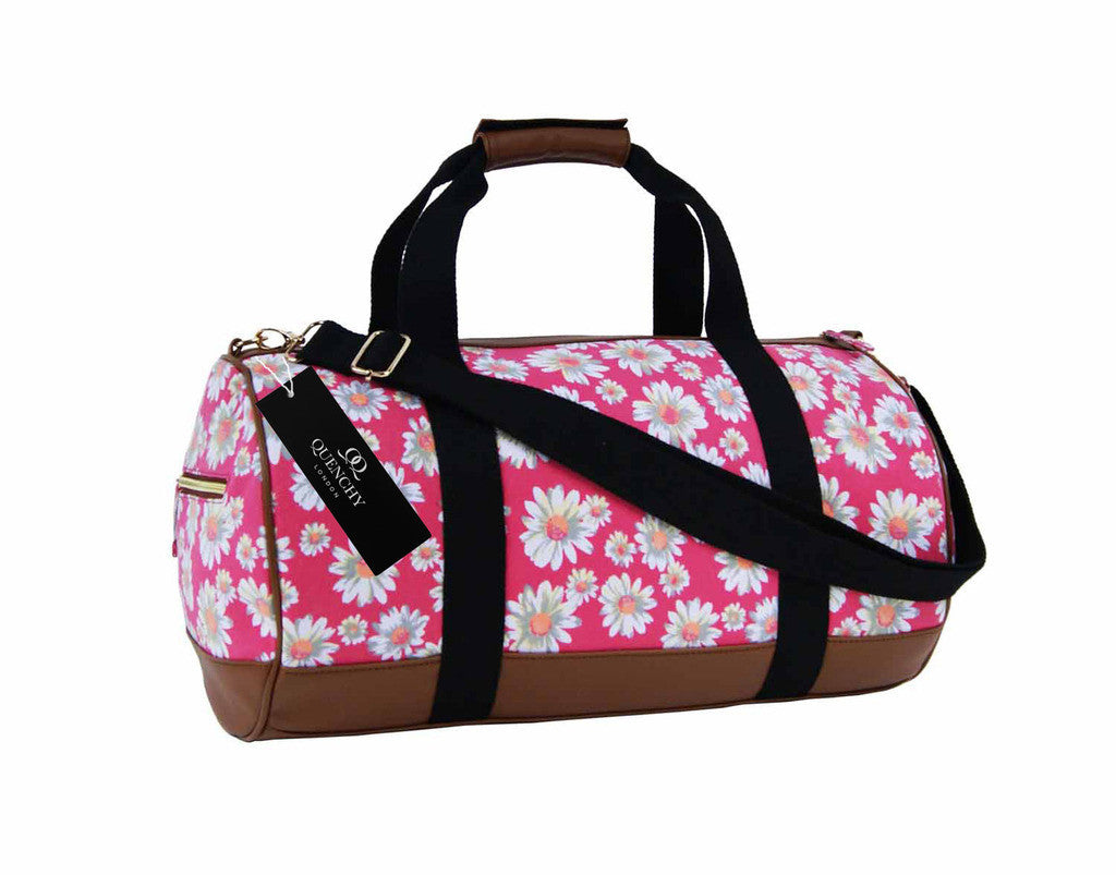 Canvas Travel Holdall Duffel Weekend Overnight Daisy Floral Print Bag QL651 pink front view