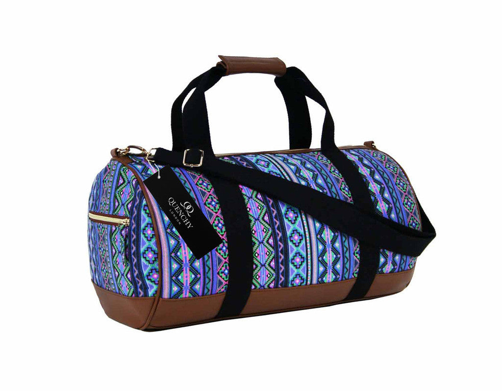 Travel Holdall Duffel Weekend Overnight Duffle Aztec Print Bag QL6154Pu
