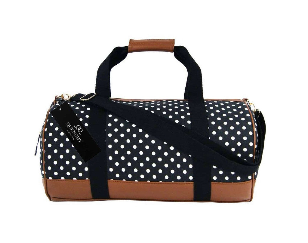 Travel Holdall Duffel Weekend Duffle PolkaDot Dots Print Bag QL652K black front view