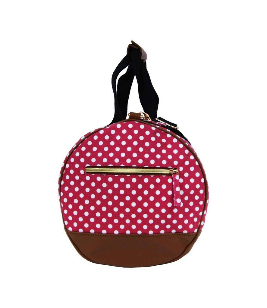 Travel Holdall Duffel Weekend Duffle PolkaDot Dots Print Bag QL652P Pink end view