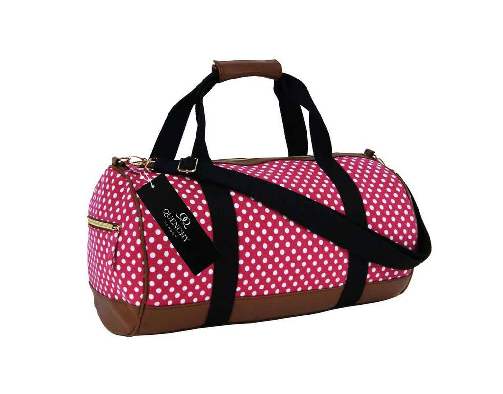 Travel Holdall Duffel Weekend Duffle PolkaDot Dots Print Bag QL652P