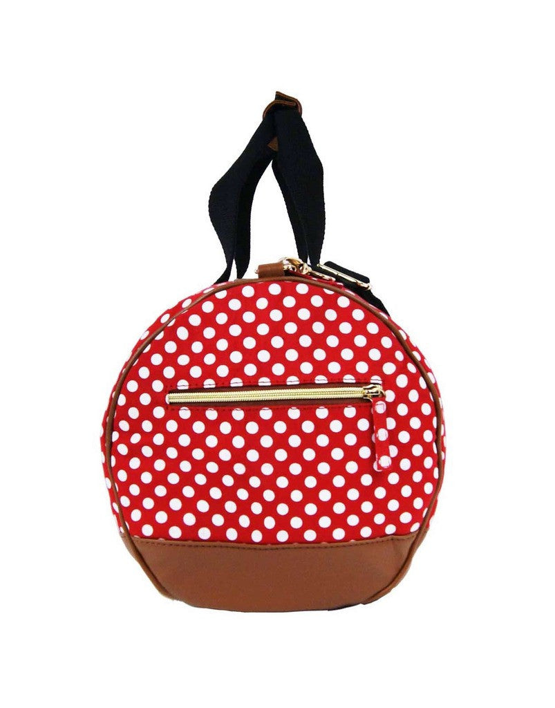 Travel Holdall Duffel Weekend Duffle PolkaDot Dots Print Bag QL652R Red end view