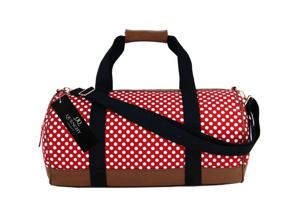Travel Holdall Duffel Weekend Duffle PolkaDot Dots Print Bag QL652R Red front view