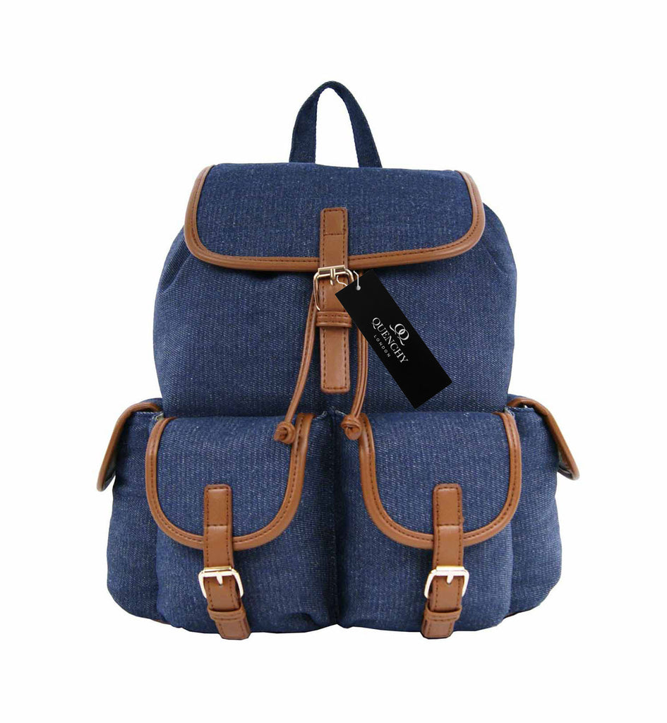 Canvas Denim Jeans Backpack Rucksack Backpacks Bag Bags QL156N front view