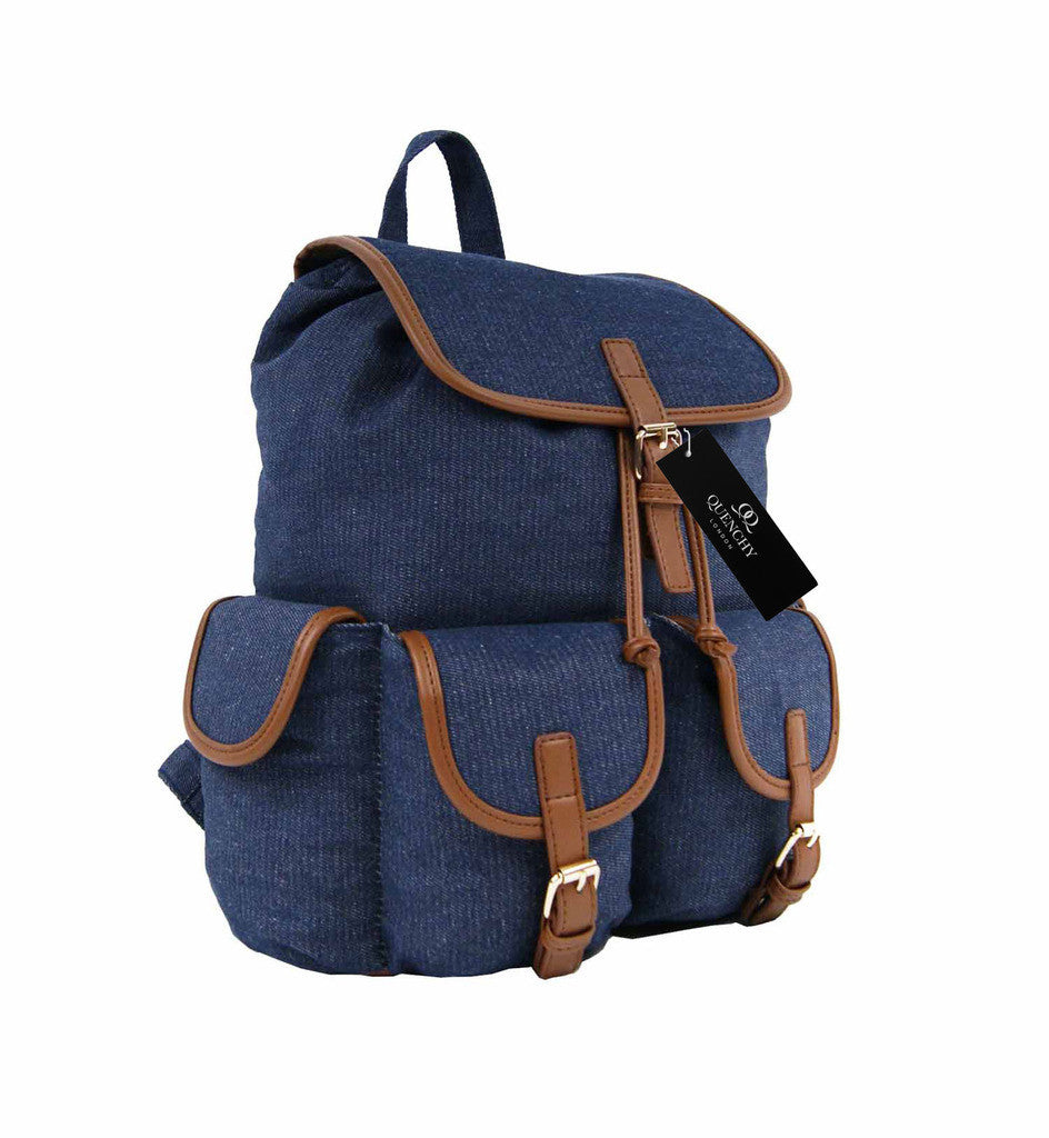 Canvas Denim Jeans Backpack Rucksack Day Packs School Backpacks Bag Bags QL156N