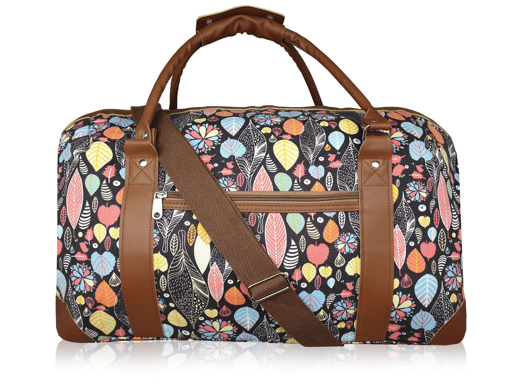 Ladies Canvas Travel Weekend Holdall, Sport and Gym Duffle Bag Multi