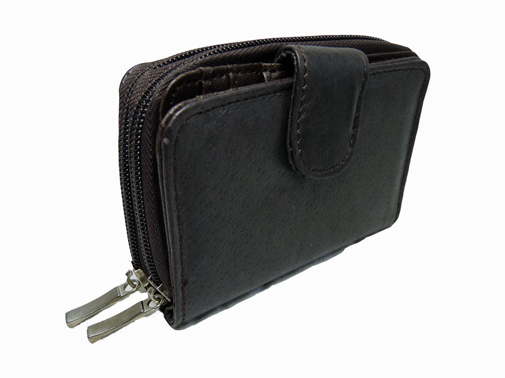 Ladies Leather Purse RFID BLOCKING - 6 Credit Card Spaces Zip Closure - CONTACTLESS THEFT PROTECTION - Zipped Up Coin Section Photo Page - Quenchy London QL330K (Black No Box)