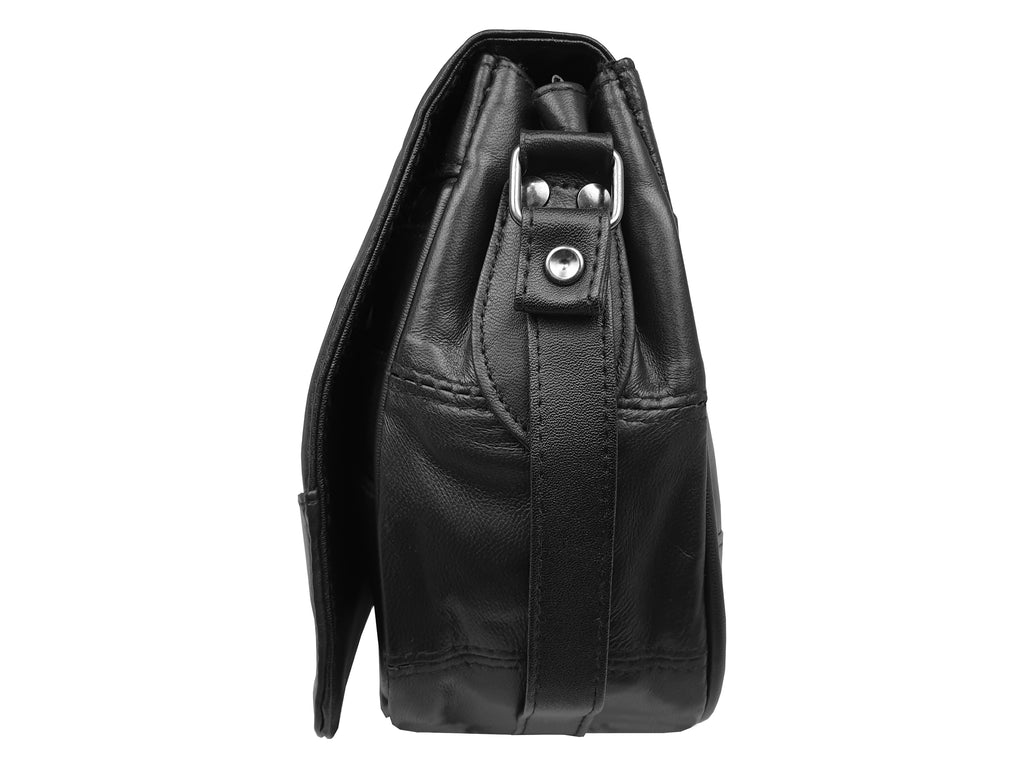 Real Leather Ladies Handbag - Women's Cross Body Black Shoulder Bag
