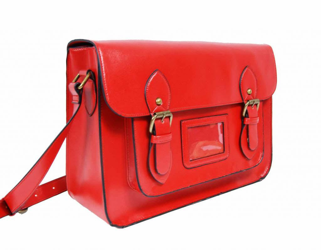Patent Pu Leather Girls Cross Body Bag Classic Retro Bags Red 525