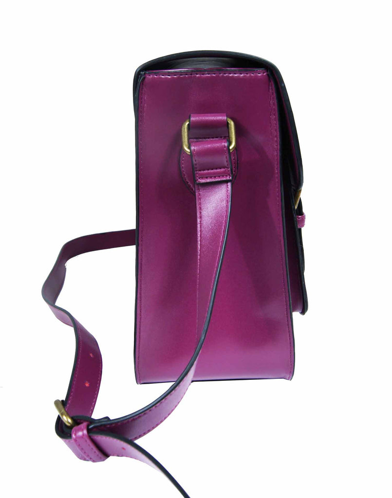 Leather Satchel Cross Body QL525Pu side view 2