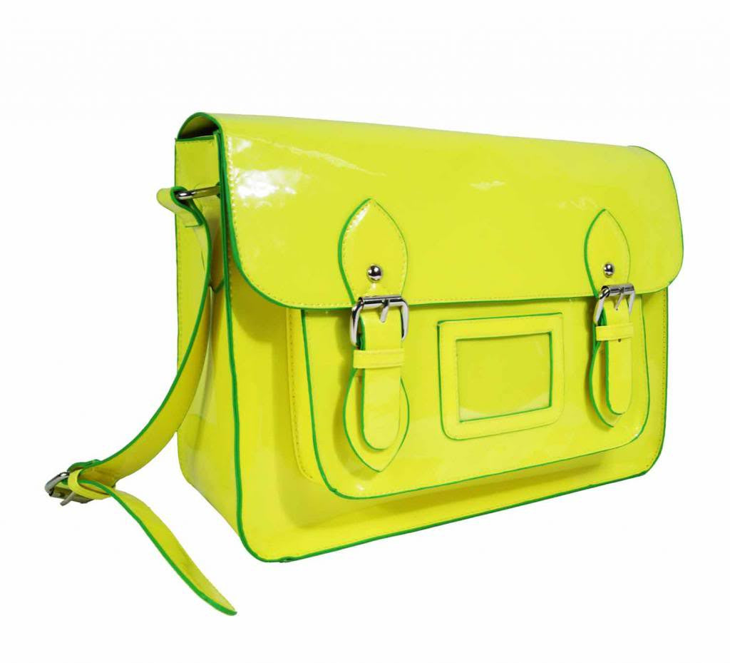 Satchel Patent Leather Girls Cross Body Bag Bags Neon Yellow