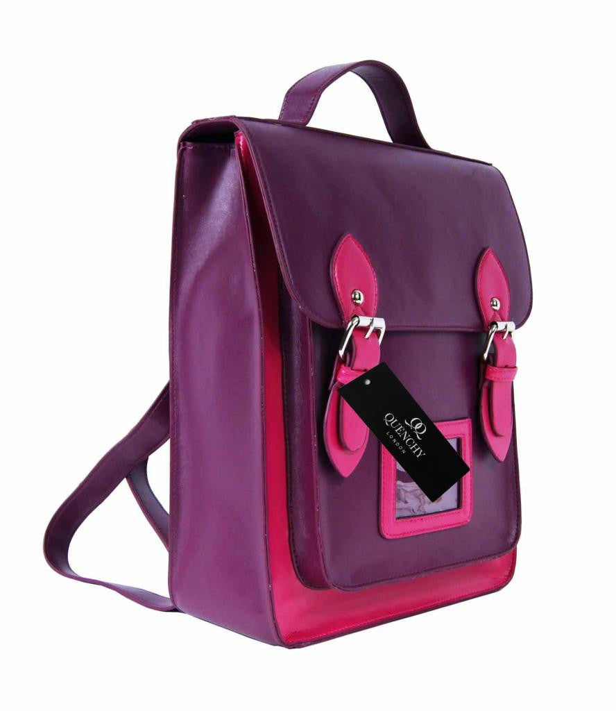 Satchel Backpacks Rucksack Bag School Bags Pvc Leather Q8207PuP side view