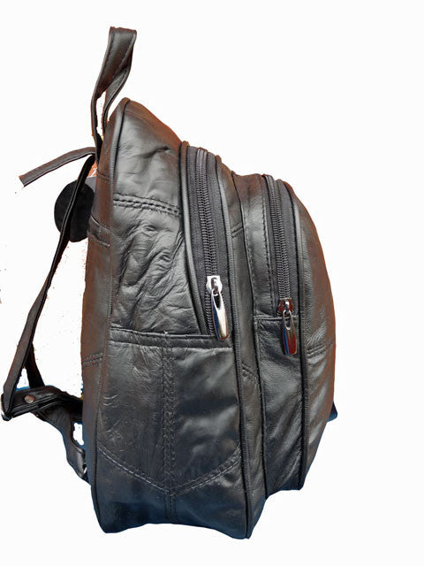 Small Soft Leather Backpack Rucksack QL958 side view