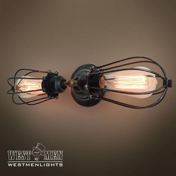 Globe 2 Lights Double Arm Cage Sconce -  westmenlights