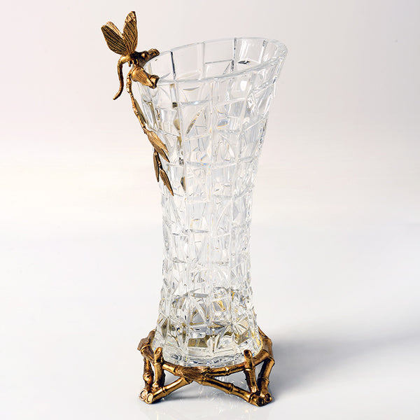 Gilt Bronze Crystal Vase with Butterfly Standing -  westmenlights