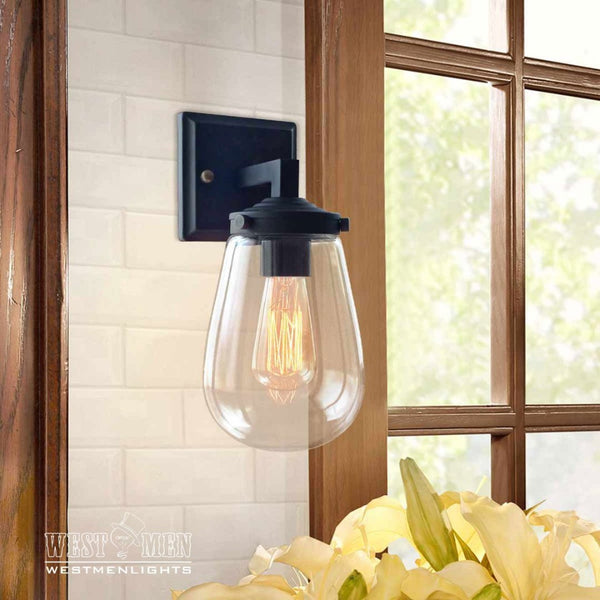 Globe 1 Light Glear Glass Metal Arm Sconce | coupon:sconce49