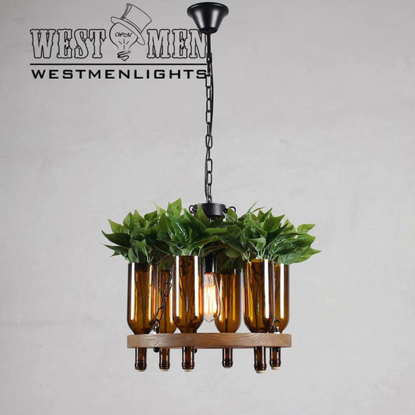 plant bottle chandelier lighting