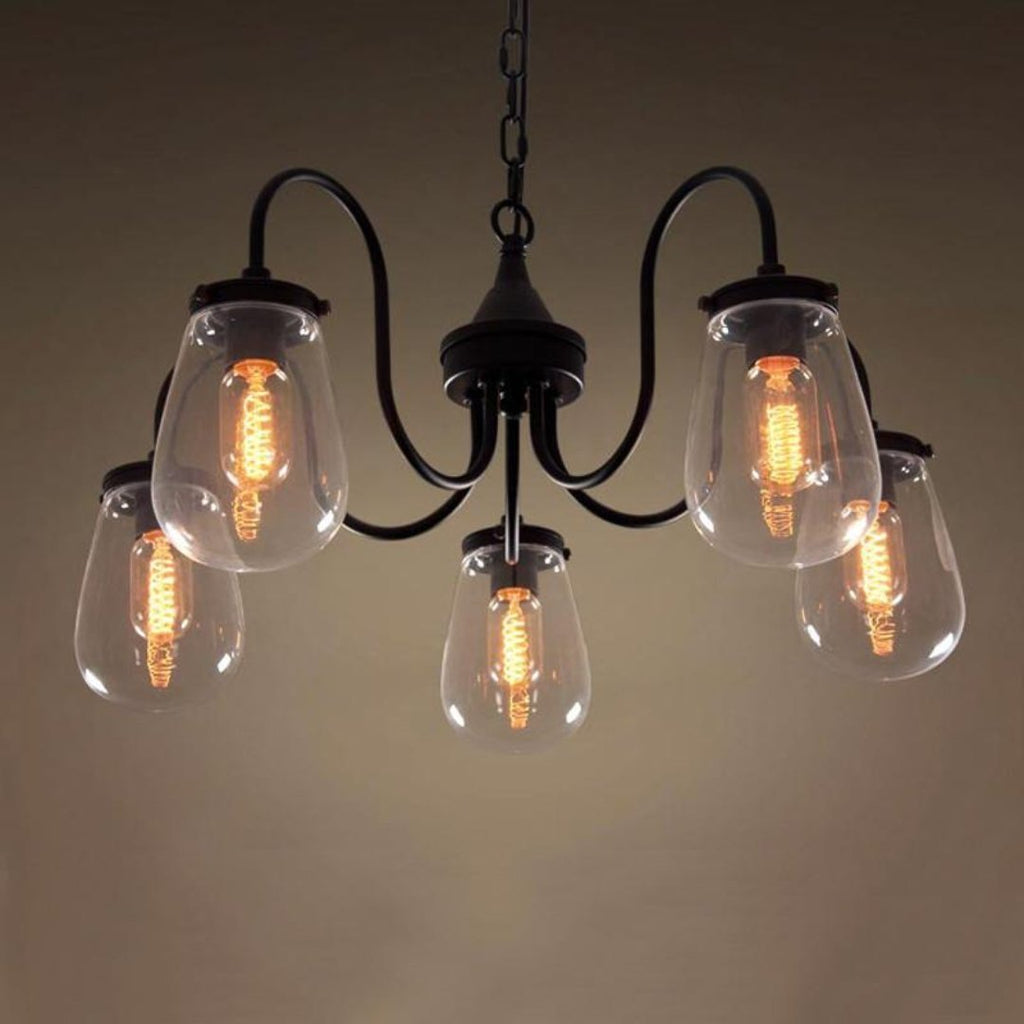 Globe 5 Lights Clear Glass Chandelier Lighting -  westmenlights