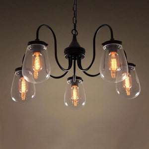 Globe 5 Lights Clear Glass Chandelier Lighting | coupon:globe166
