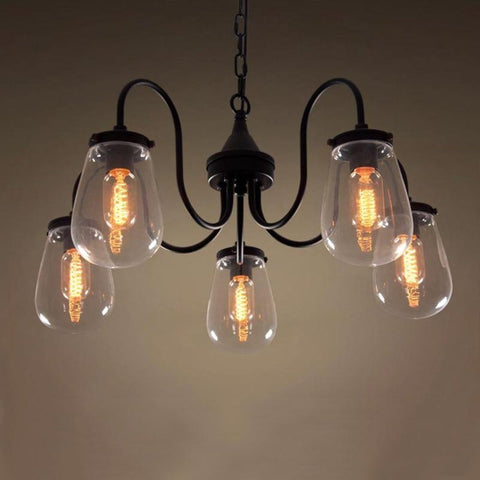 Globe 5 Lights Clear Glass Chandelier Lighting