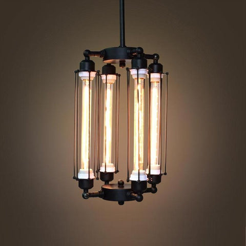 Long Cylinder 4 Lights Metal Chandelier -  westmenlights