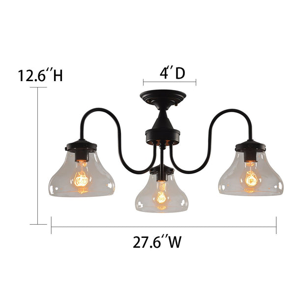 Bell 3 Lights Flush Mount Glass Ceiling Light -  westmenlights