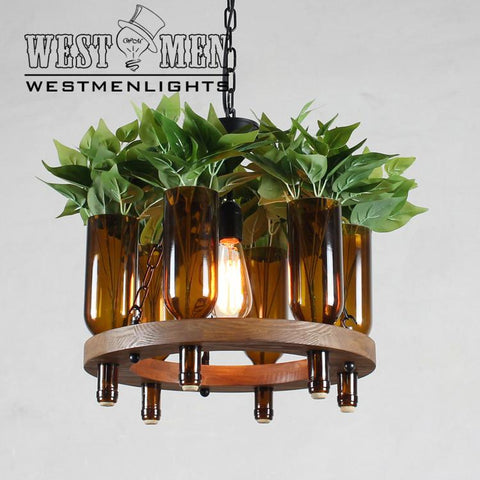plant cultivated wine bottle chandelier lighting
