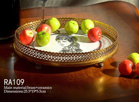 Gilded Bronze Elliptical Tray -  westmenlights