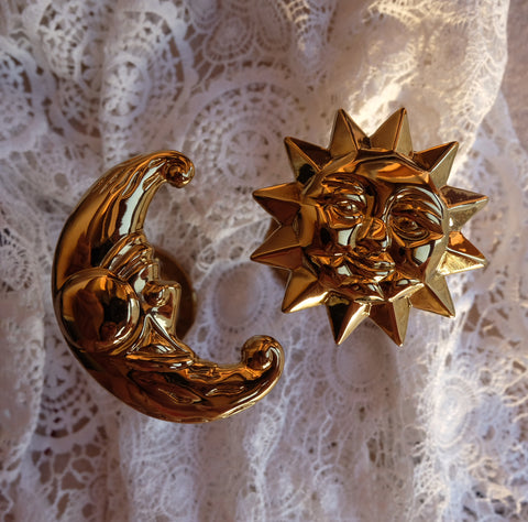 KAWA sun&moon vintage brass curtain cloth hooks