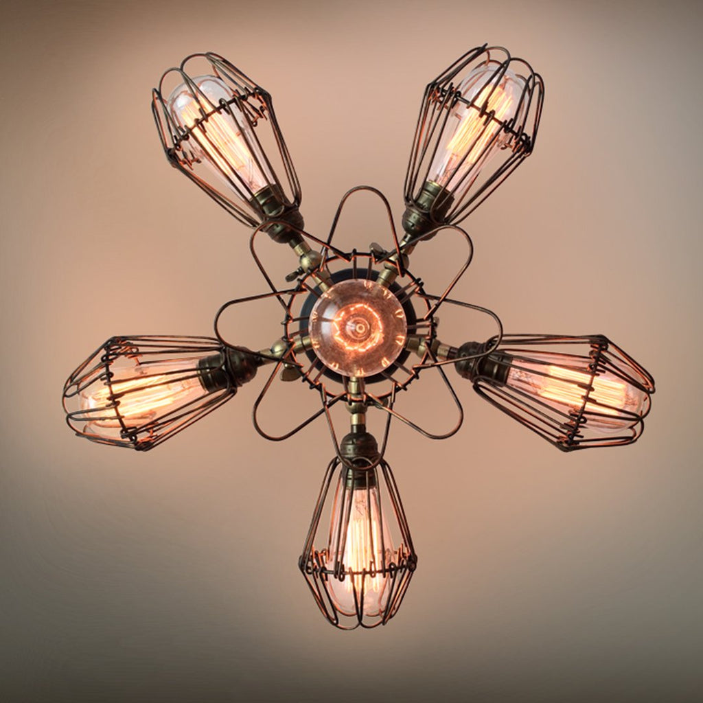 mount goods light industrial ceiling cage fixture lamp inspired rustic products the flush