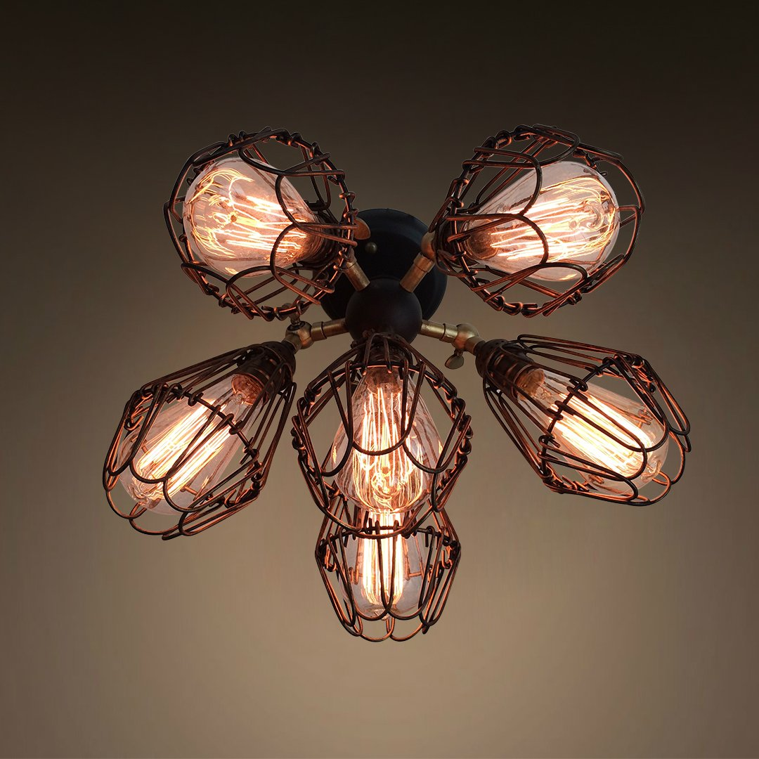 Ajustable Cage 6 Lights Flush Mount Ceiling Light