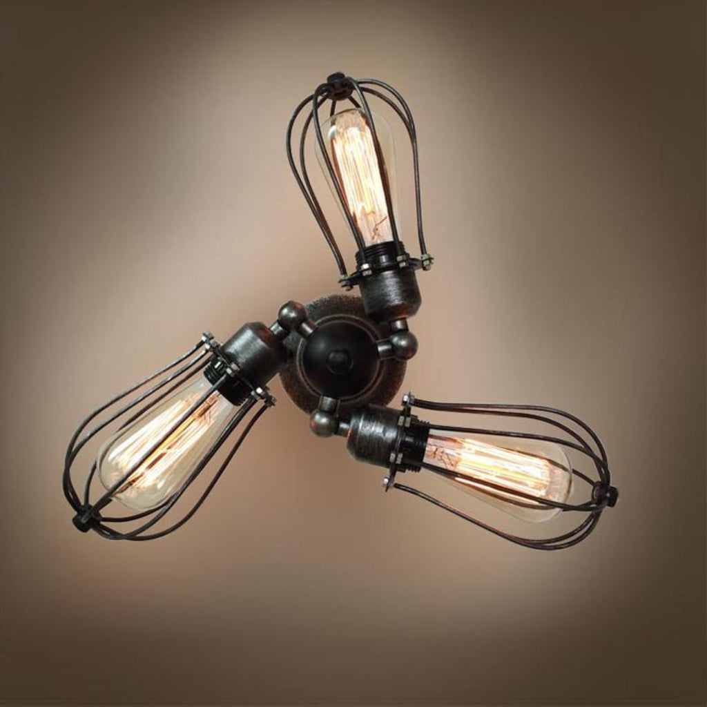 Globe 3 Lights Swing Arm Cage Sconce