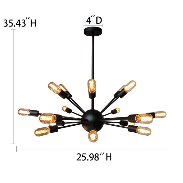Sputnik 18 Lights Brown Metal Chandelier Lighting -  westmenlights