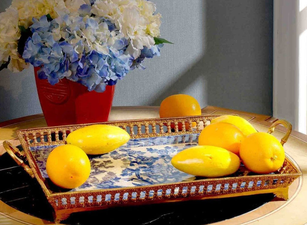 Bronze Mount Blue and White Tray