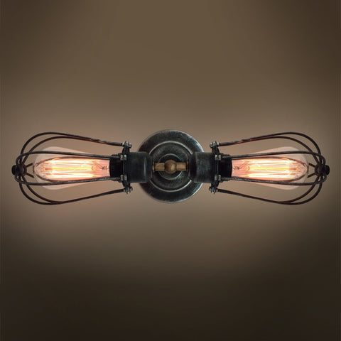 Globe 2 Lights Double Arm Cage Sconce