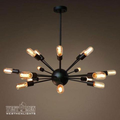 Sputnik 18 Lights Brown Metal Chandelier Lighting