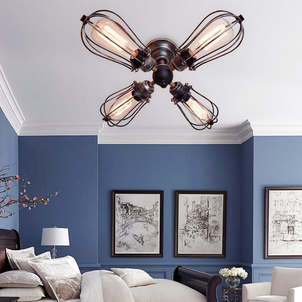 Globe 4 Lights Cage Semi Flush Mount Ceiling Light -  westmenlights