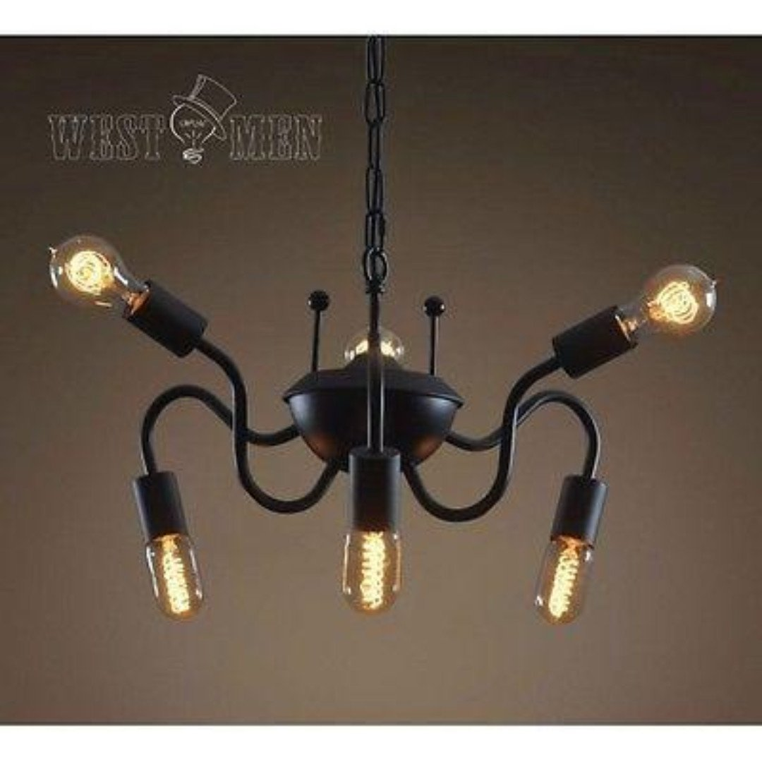 Spider 6 Lights Metal Hanging Chain Chandelier