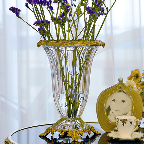 Gilt Bronze Crystal Flower Vase -  westmenlights