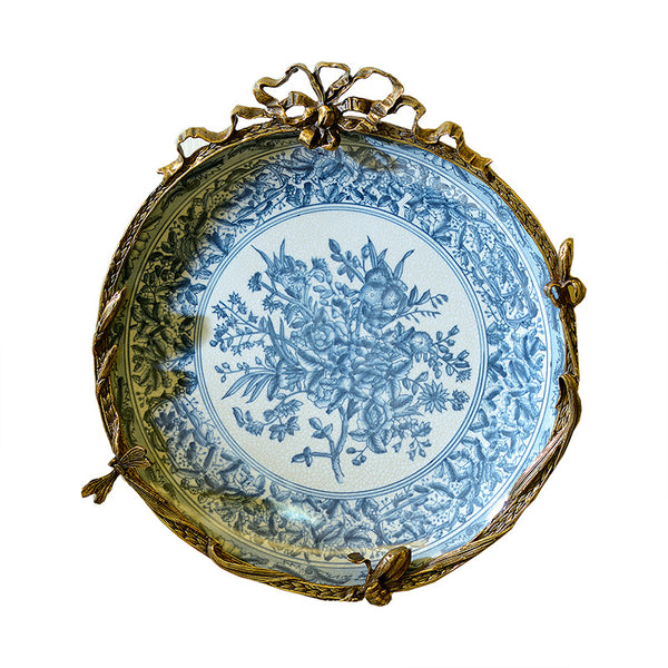 American European-style high-end retro nostalgic blue and white ceramic pure copper hanging plate wall decoration mural porcelain decorative plate ornaments