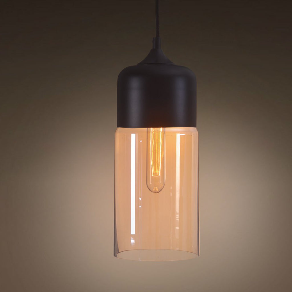 Amber 1 Light Cylinder Glass Pendant Lighting -  westmenlights