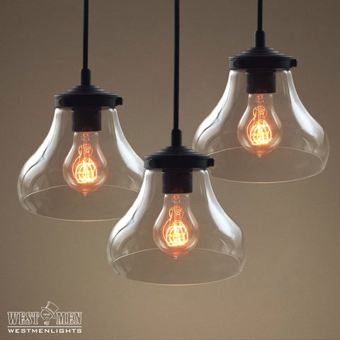 Bell Clear Glass Pendant Light Pack of 3 -  westmenlights