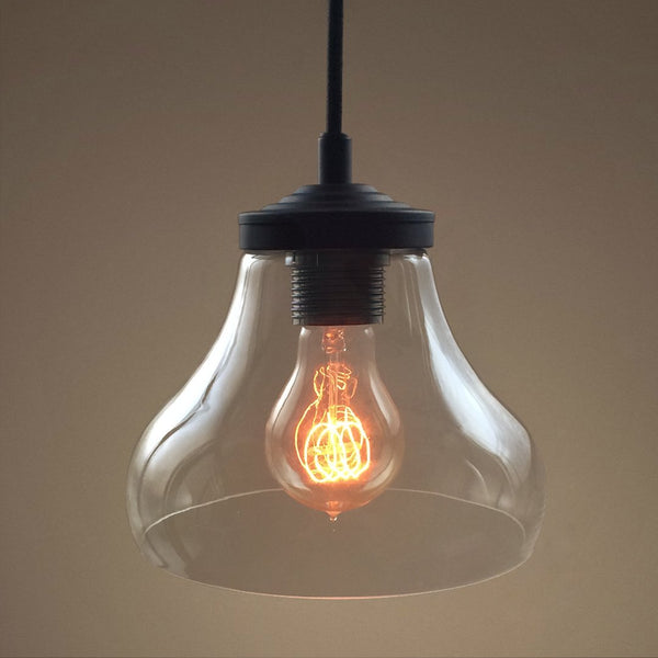 Bell 1 Light Clear Glass Pendant Light -  westmenlights