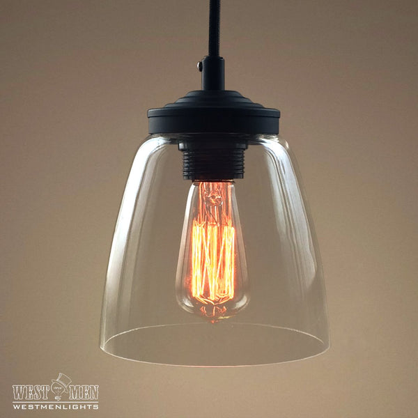 Cloche 1 Light Clear Glass Pendant Light -  westmenlights