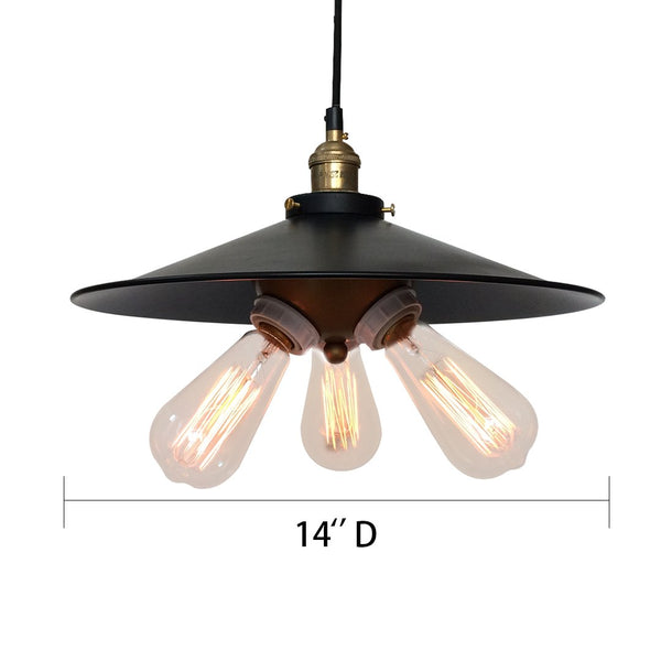 3 Lights Black Hat Lampcover Pendant Light -  westmenlights