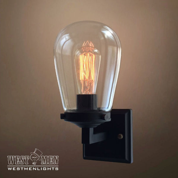 Globe 1 Light Glear Glass Metal Arm Sconce -  westmenlights