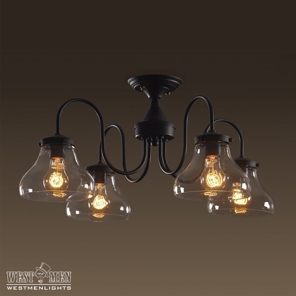 Bell 4 Lights Flush Mount Glass Ceiling Light