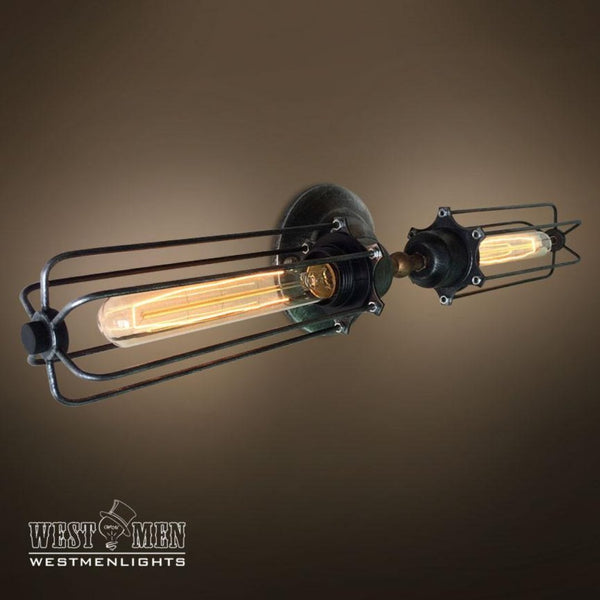 Cylinder 2 Lights Double Arm Cage Wall Sconce -  westmenlights