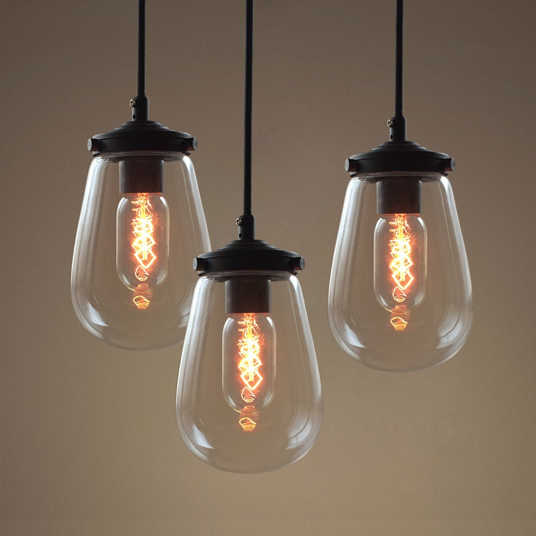 Pendants cottage modern ceiling fixtures westmen lights electric globe clear glass pendant light pack of 3 aloadofball