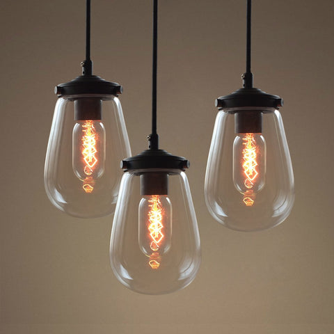 Globe Clear Glass Pendant Light Pack of 3